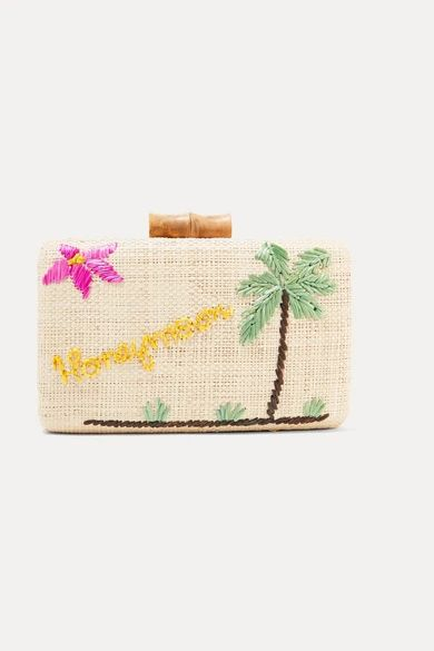 Kayu - Embroidered Woven Straw Clutch - Neutral