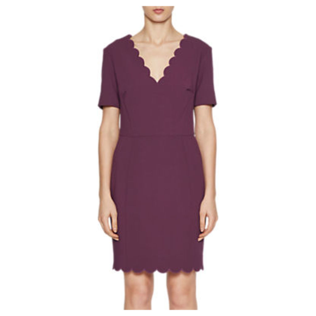 French Connection Whisper V Neck Dress, Deepest Purple