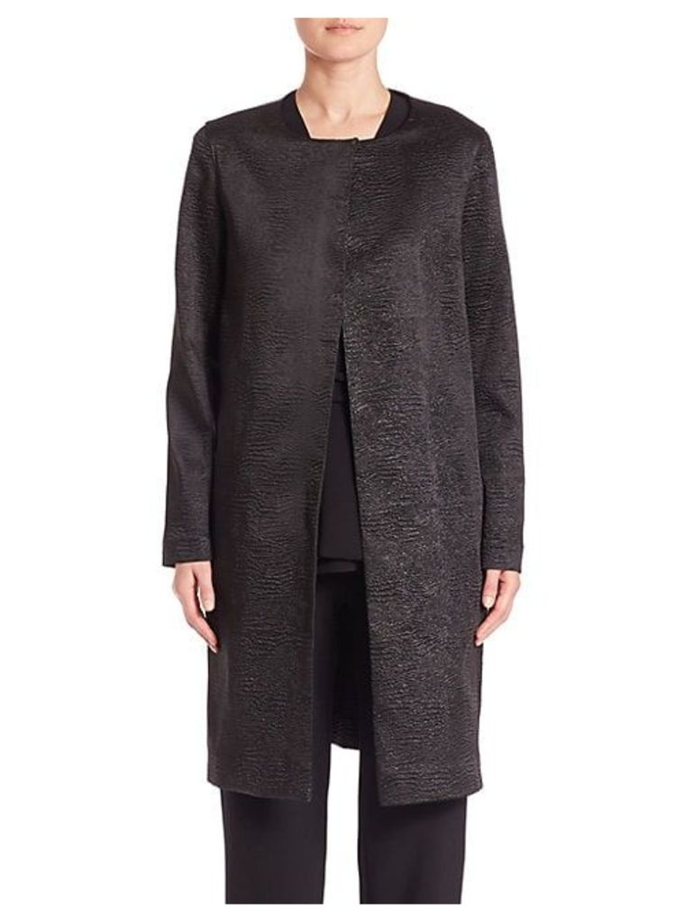 Crinkle Collarless Coat