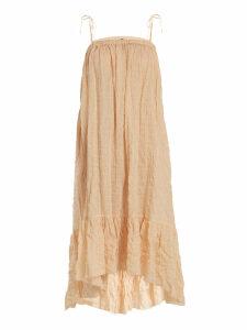 Lisa Marie Fernandez - Nicole Gathered Striped Cotton Blend Dress - Womens - Orange Stripe