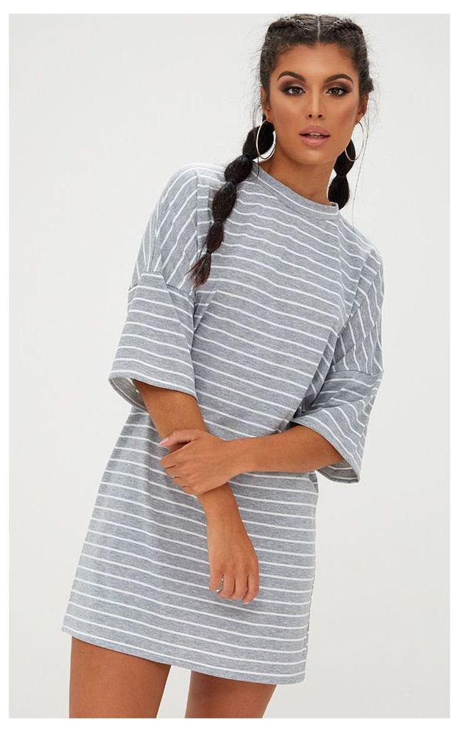 Grey Striped Oversized T Shirt Dress, Grey