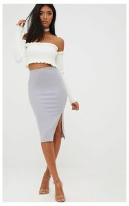 Grey Basic Split Midi Skirt, Grey