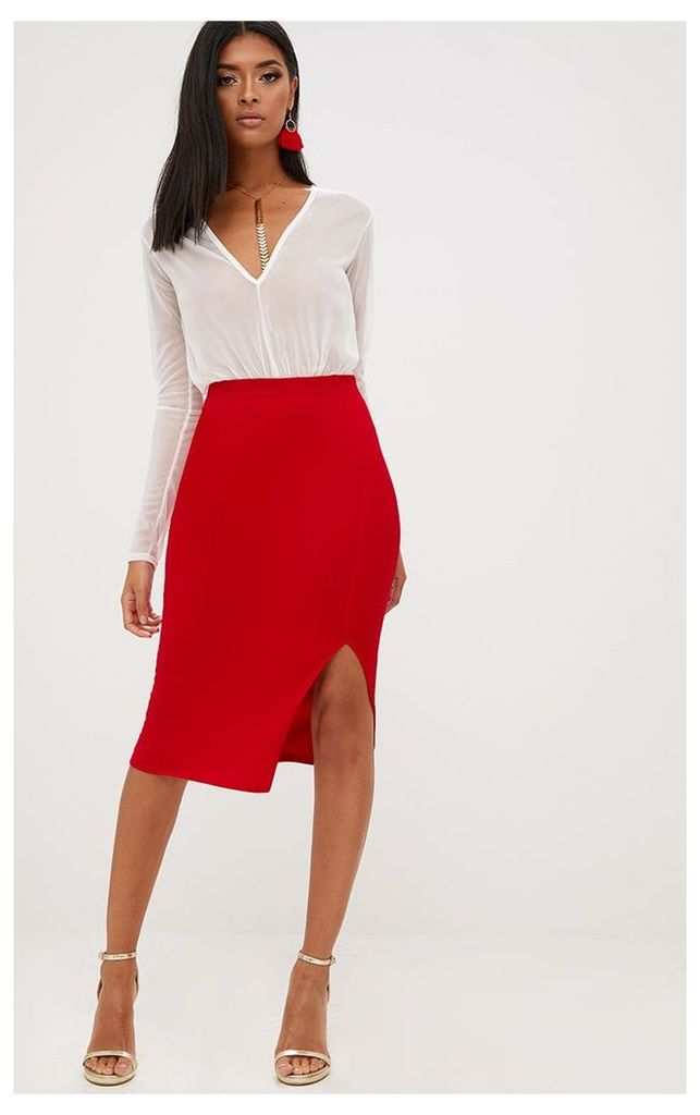 Red Basic Split Midi Skirt, Red