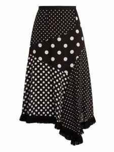 Andrew Gn - Polka Dot Print Asymmetric Silk Skirt - Womens - Black White