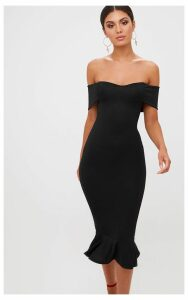 Black Bardot Frill Hem Midi Dress, Black