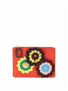 Jw Anderson - Daisies Crochet Leather Pouch - Womens - Red Multi
