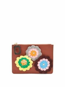 Jw Anderson - Daisies Crochet Leather Pouch - Womens - Tan Multi