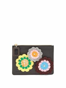 Jw Anderson - Daisies Crochet Leather Pouch - Womens - Black Multi
