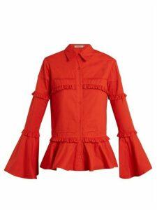 Preen Line - Suki Ruffle Trimmed Cotton Shirt - Womens - Red