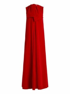 Maison Rabih Kayrouz - Sleeveless Neck Tie Cotton Velvet Gown - Womens - Dark Red