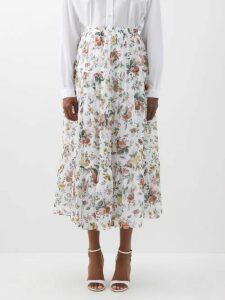 Maison Rabih Kayrouz - Gathered Waist Paper Taffeta Midi Skirt - Womens - Blue