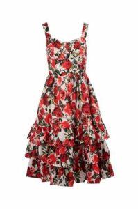 Rose Print Tiered Hem Fit & Flare Dress