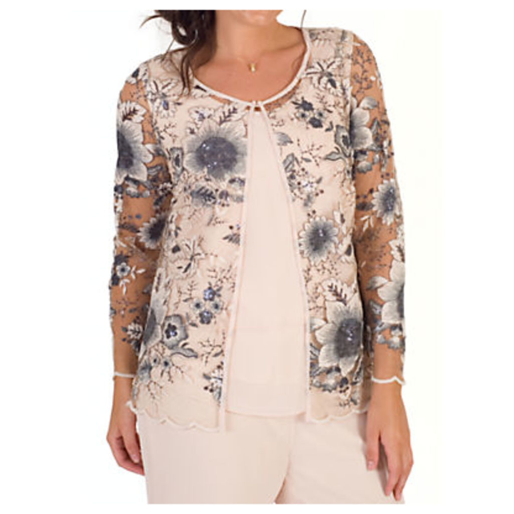 Chesca Sequin And Embroidered Mesh Jacket, Blush
