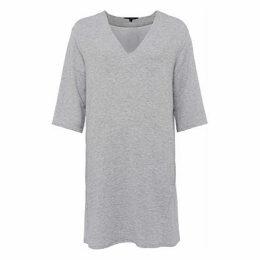 French Connection Sudan Luella Jersey V-Neck Dress, Light Grey Mel