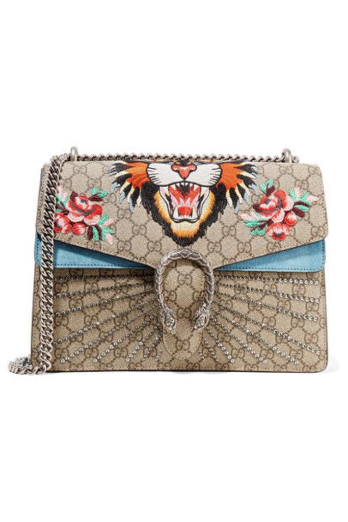 Gucci - Dionysus Medium Appliquéd Printed Coated-canvas And Suede Shoulder Bag - Beige