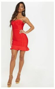 Red Bandage Frill Hem Bodycon Dress, Red