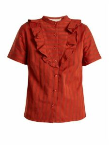 Ace & Jig - Fiona Ruffle Trimmed Striped Cotton Blouse - Womens - Dark Orange