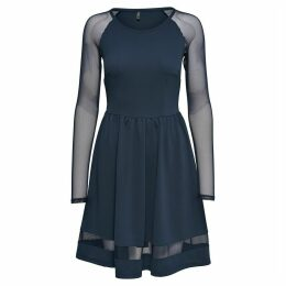 Skater Dress with Mesh Sleeves & Detailing