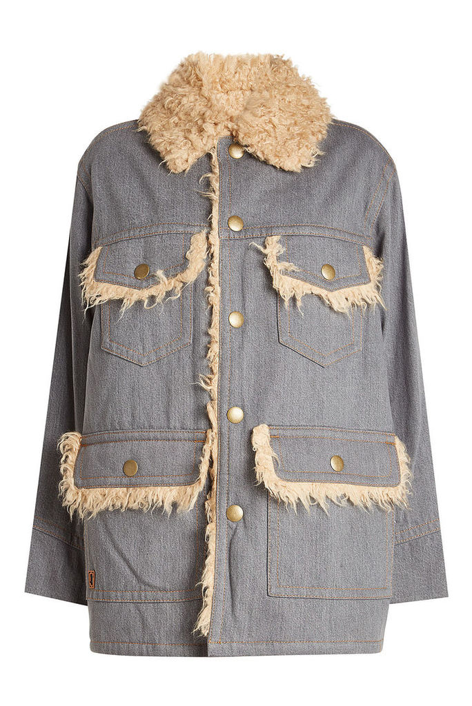Marc Jacobs Oversized Cotton Jacket with Faux Fur Lining
