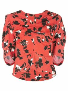 Derek Lam Floating Floral Short Sleeve Blouse with Ruched Detail - Red