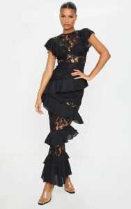 Black Lace Ruffle Detail Maxi Dress, Black