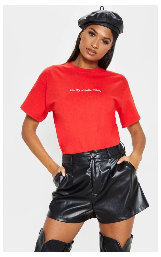 PRETTYLITTLETHING Red Slogan Oversized T Shirt, Red