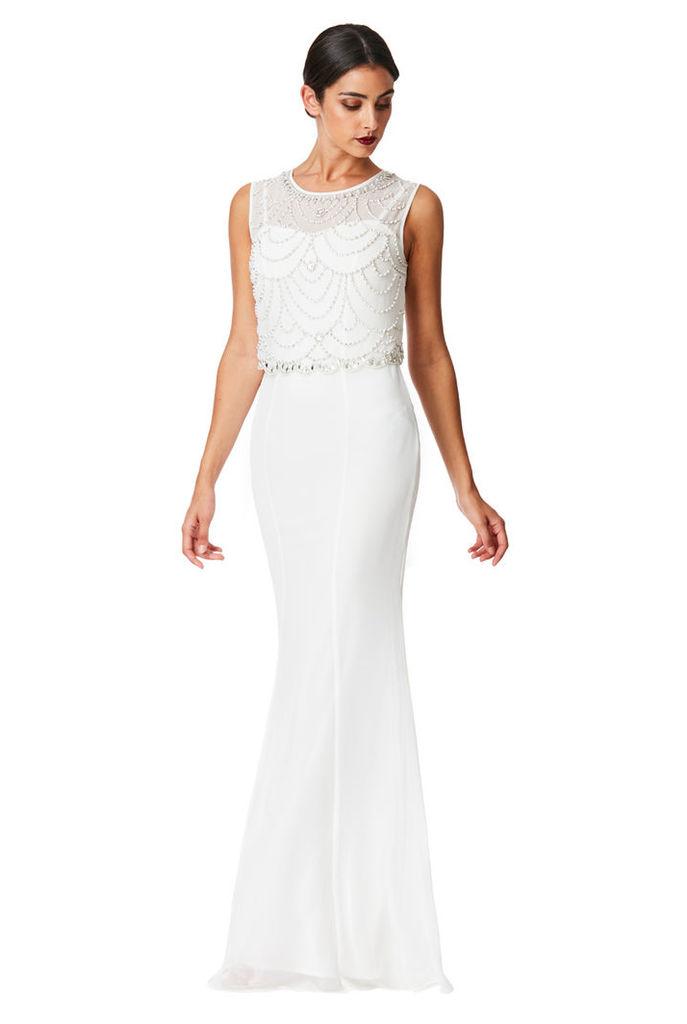 9fed4b5caab Embellished Chiffon Maxi Dress - Cream by Goddiva   Snap Fashion ...
