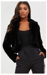 Black Cropped Faux Fur Coat, Black