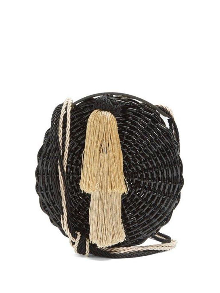 Wai Wai - Petite Balaio Woven Rattan Bag - Womens - Black