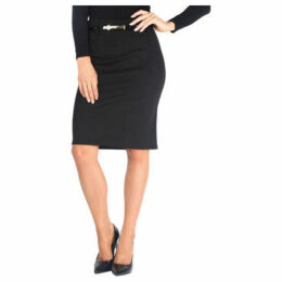 Krisp  Belted Ponte Midi Pencil Skirt [Black]  women's Skirt in Black