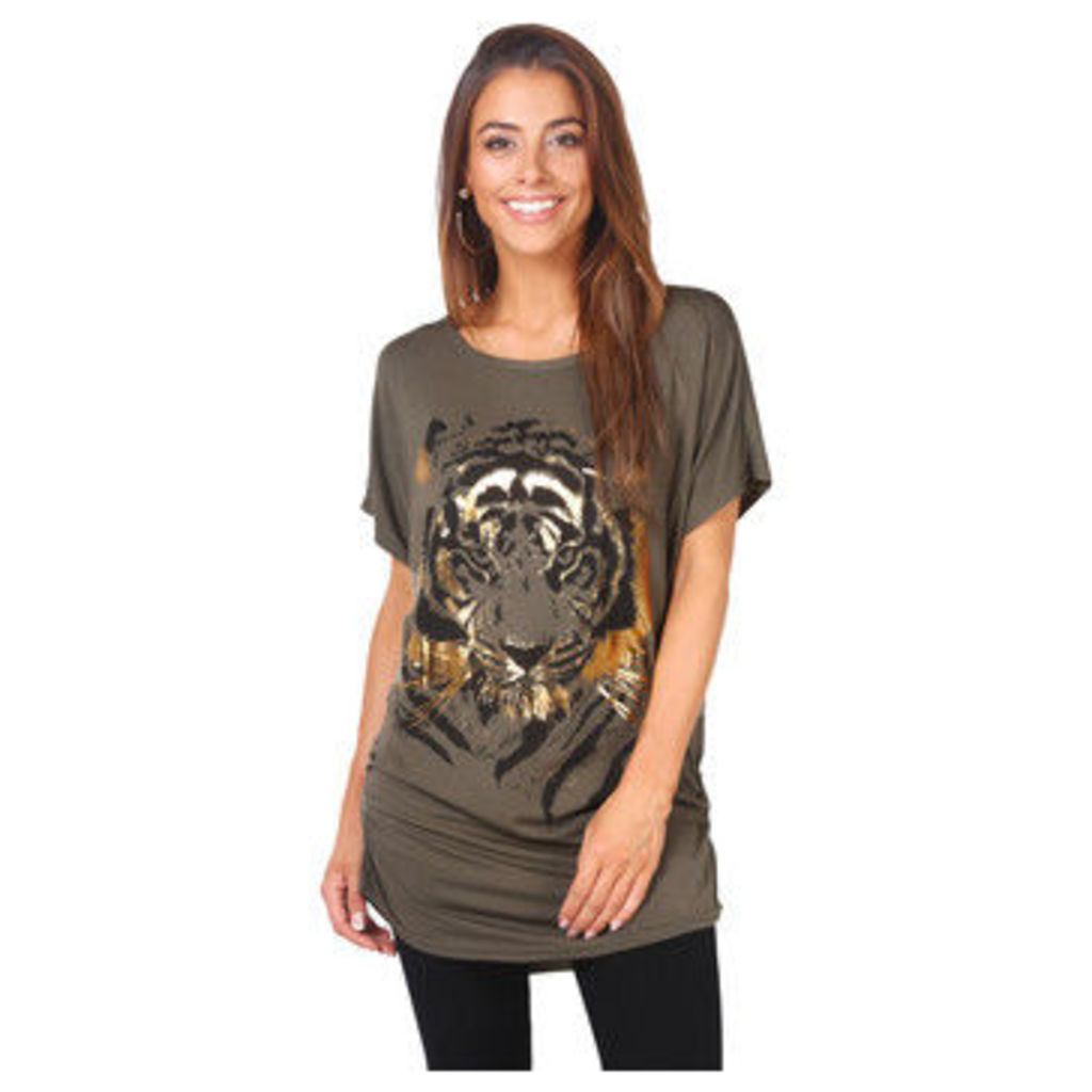 Krisp  Oversize Shiny Tiger Print T-shirt [Khaki]  women's T shirt in Green