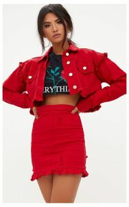 Red Ruffle Hem Denim Skirt, Red
