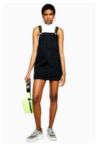 Womens Bib Pocket Pinafore Dress - Washed Black, Washed Black