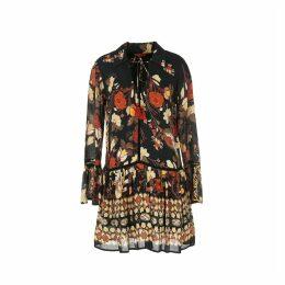 Floral Print Shirt Dress with Peplum Hem