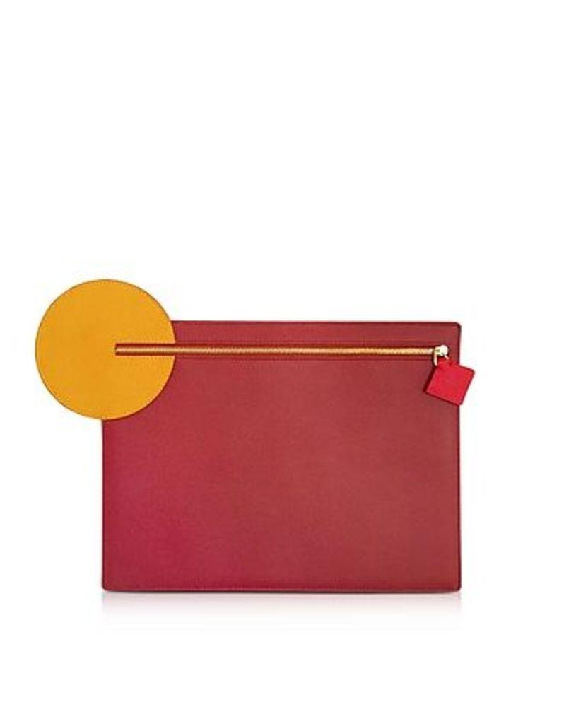 Roksanda Designer Handbags, Cherry and Honey Leather Alpin Clutch