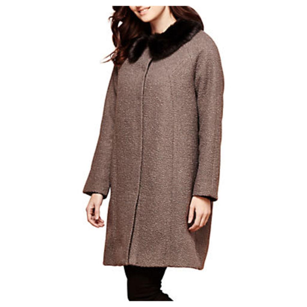 Yumi Faux Fur Trim Coat, Dark Grey