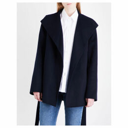 Joseph Ladies Navy Luxury Lima Wool And Cashmere-Blend Cropped Coat