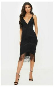 Black Strappy Tassel Longline Midi Dress, Black
