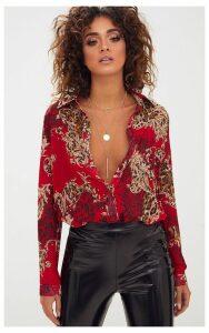 Red Baroque Print Chiffon Oversized Shirt, Red