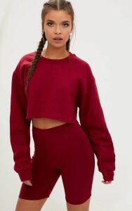 Maroon Ultimate Cropped Sweater, Maroon