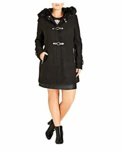 City Chic Wonderland Faux Fur-Trimmed Coat