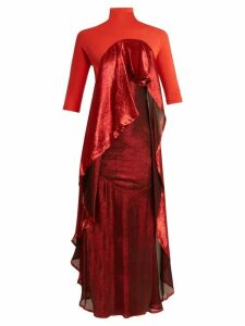 Paula Knorr - Drape Jersey And Silk Blend Lamé Dress - Womens - Red Multi