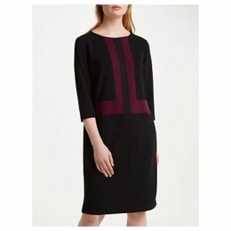 Winser London Crepe Jersey Colour Block Shift Dress, Rich Berry/Black
