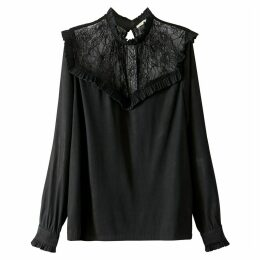 High Neck Lace Blouse with Ruffles