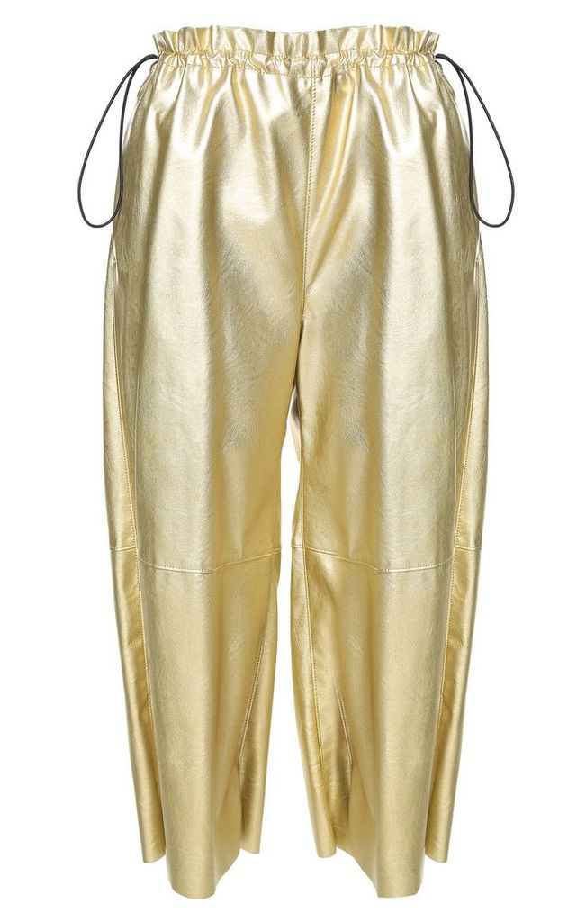 MM6 Maison Margiela Drawstring-waist Metallic Faux-leather Cropped Trousers