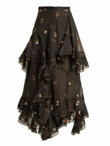 Erdem - Elsa Floral Embroidered Tiered Cotton Blend Skirt - Womens - Black