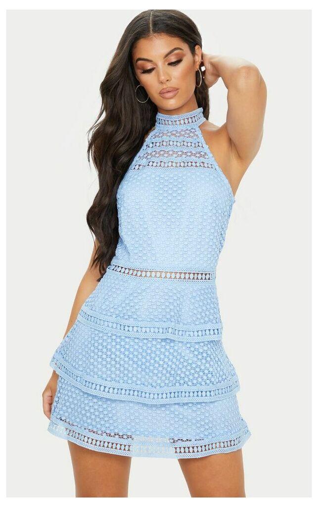 Raine Dusty Blue Lace Panel Tiered Bodycon Dress, Blue