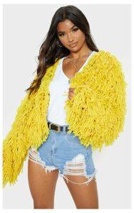 Mustard Shaggy Knit Cropped Cardigan, Yellow