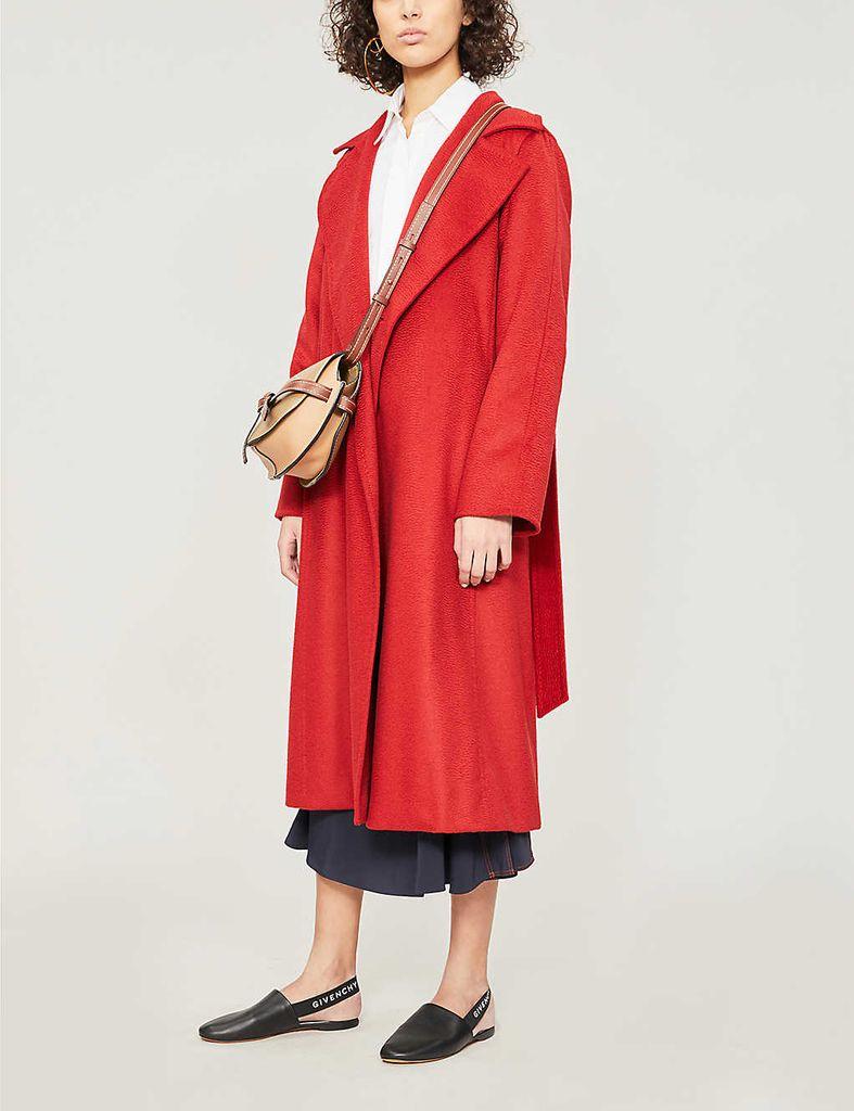 Max Mara Ladies Red Textured Timeless Manuela Camel Hair Coat