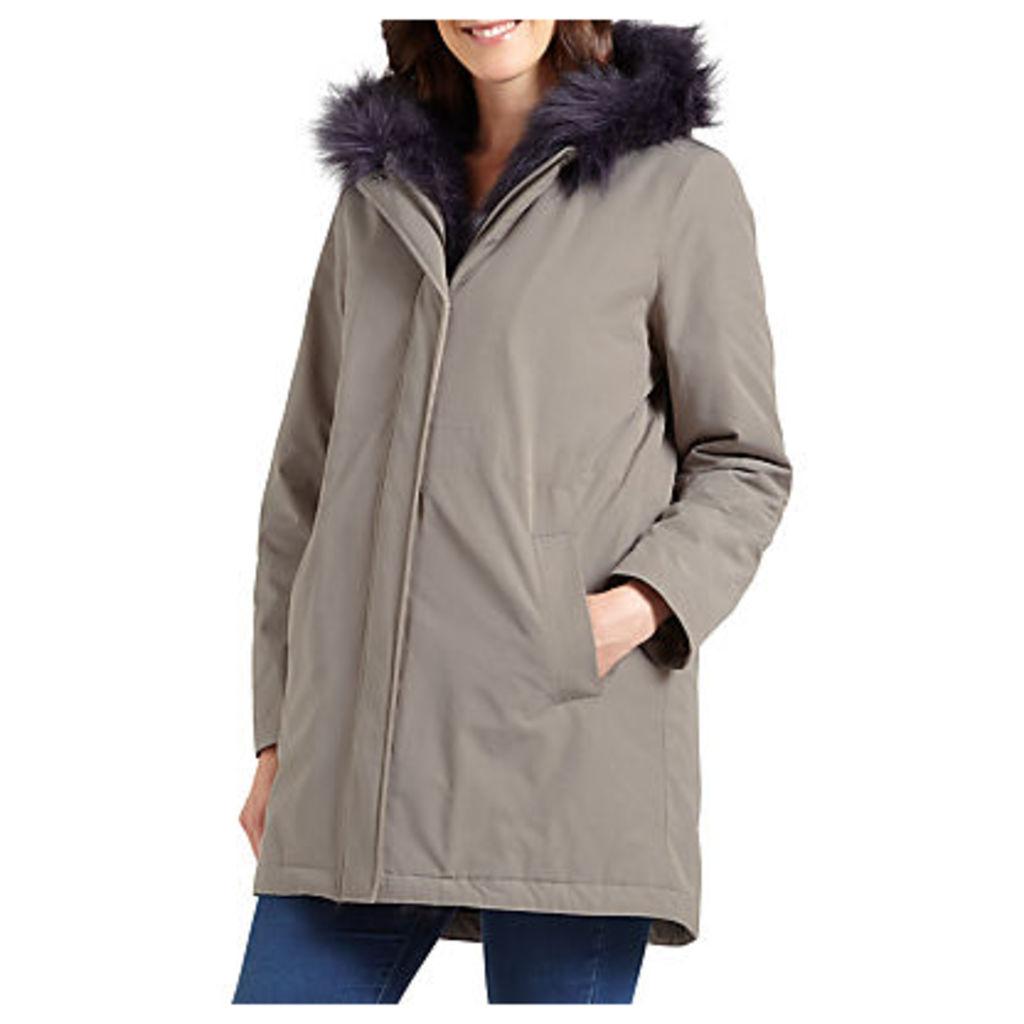 Four Seasons Faux Fur Trimmed Parka Coat, Mole/Navy
